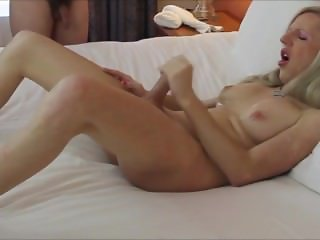 Mature tranny loves having cum on herself