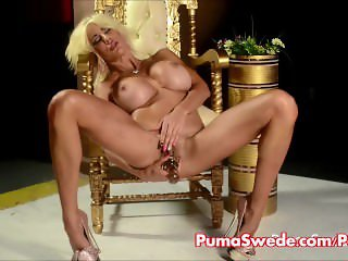European Blonde Puma Swede Gets Cums From Pink Dildo!