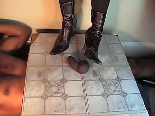 Cruel Torture Under Brown Stiletto Boots!!!