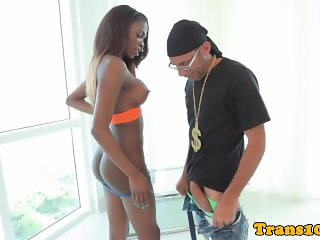 Black tranny doggystyled after bj