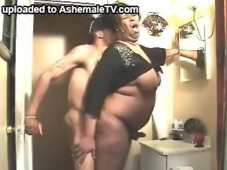 Mature Black Tranny Haves Fun With Her Boy In The Bathroom