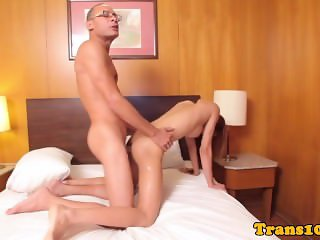 Tiny asian tranny takes bigcock up her ass