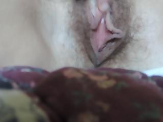 HD Hairy MILF rubs clit cums quick then plays with milky tits lactation
