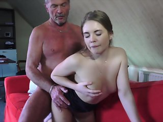 Young Russian Girl Suck an Old Grandpa