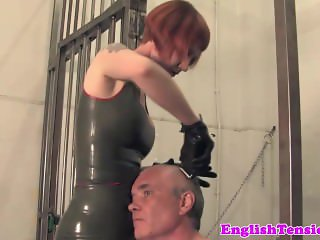 Ginger femdom interrogates useless submissive