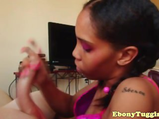 Glam black amateur tugging whiteboy dick pov
