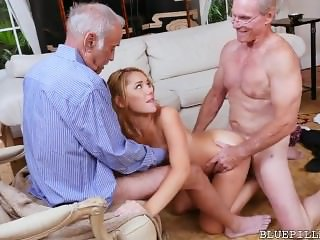 Teen Saleswoman Gangbanged by 4 Grandpa's