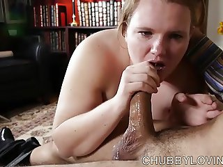 Cute chubby honey loves giving a sexy footjob