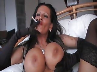 Smoking brunette - 3