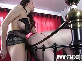 Strapon Jane fucks gimp in red thong virgin ass with cock