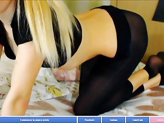 blond in black legging and nylon socks