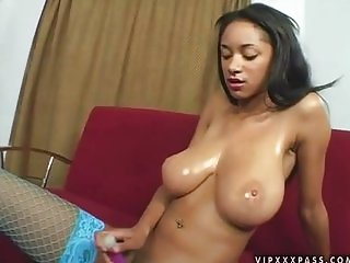 Divine ebony babe Tyra Moore gets white dick