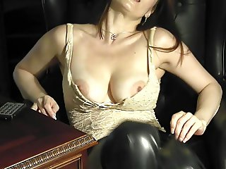 Amazing milf leona in the study playing with herself