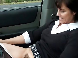 hot milf parks car and masturbates