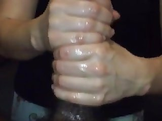 19yr old Christine jerking off a massive black dick