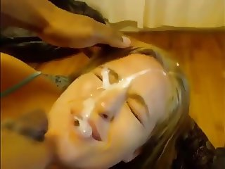BBC cums on blond girl on cam