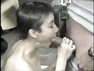Korean ex-model slumming it, sucking dicks in a bar