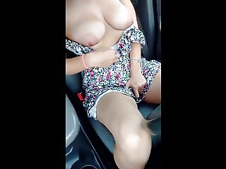 Milf with big boobs makes rest on the highway