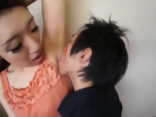 Tall woman asian licking