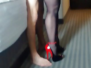 Hotwife and lover in hotel room