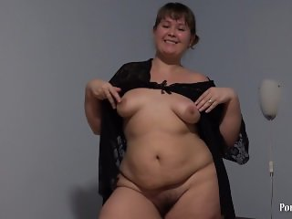young cute plump with hairy by a pussy, fucking with dildo.