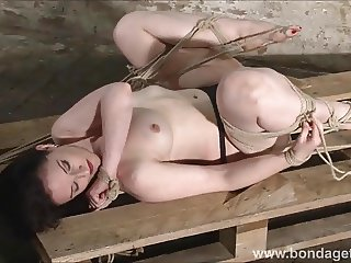 American fetish model Caroline Pierce tied up and hogtied bo