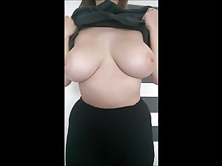 Busty 20yr old flashing 34G boobs at home