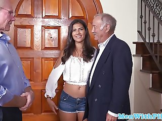 Gorgeous babe banged by geriatric on couch