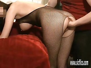 Brutally fisting his GFs ass and pussy
