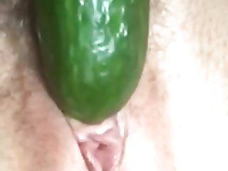 Cucumber fuck part 4 with cum
