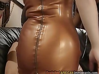 Stunning interracial anal action