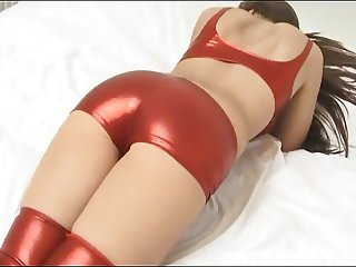 My shiny red PVC panties really hug my shaved pussy