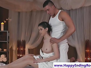 Doggystyled amateur babe gets wam with masseur