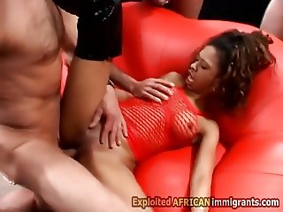 African hottie loves big white cocks