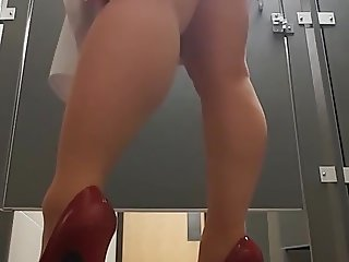 Sexy milf testing at work upskirt stockings heels