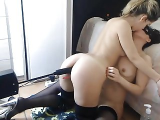 Enjoying her friend and her fucking machine