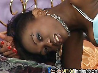 Petite black girlfriend double fucking