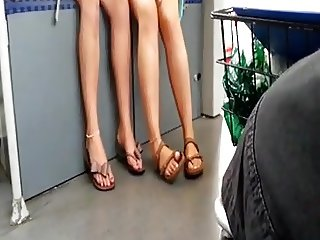 Candid Pretty Legs and Feet in Sandals on Train College