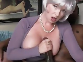 BBC Handjob and cum on tits