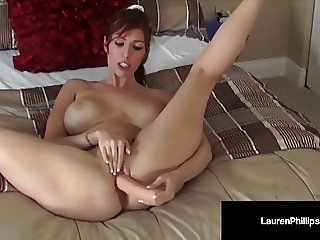 Hot Red Head Lauren Phillips Loves Her Dick Toy in Her Ass!