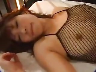 Hairy Japanese Fucks in Fishnet Bodystocking