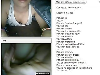 Cute french girl flashing tits and hairy pussy on chat