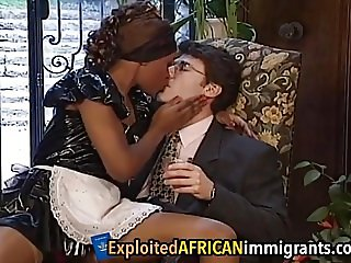 African Babe Enjoys Riding Big White Schlong
