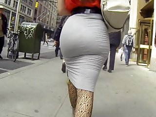 HOT BLONDE ASS SKIN TIGHT GREY SKIRT