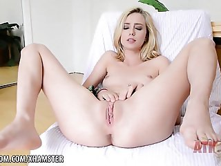 Blonde Teen Haley Reed orgasms with vibrator