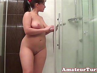 Busty amateur showing off body in shower