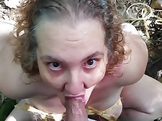 Naked in the Woods Tied to A Tree and Face Fucked
