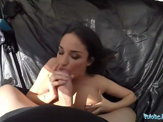 Public Agent Anissa Kate is a Big Boobed Cheating Wife Fucked in Tent
