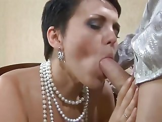 Unwanted sperm in russian milf's mouth