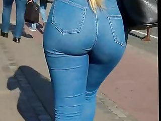 Sexy ass Blonde Tight Jeans booty